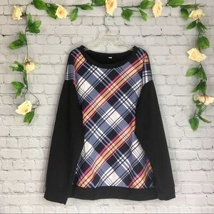 Sweaters - Black Long-Sleeve Plaid Extra Large Sweater Top